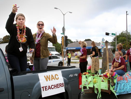 West Allis Central teachers tempt the crowd with candy