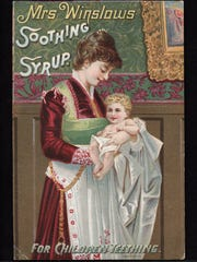 "This late 1800s ad for Mrs. Winslow's Soothing Syrup, a children's remedy containing morphine for the pain of teething, is shown in the exhibit ""Pick Your Poison"" opening at the McClung Museum of Natural History and Culture."