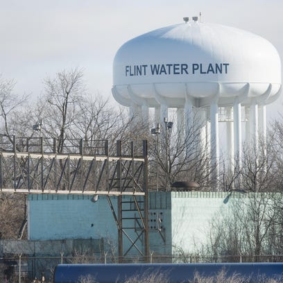 Water tower of the Flint Water Plant (not sure what company was the stuff in foreground of tower but it hasn't nothing to do with water plant.) Shots of Flint, Michigan on January 29, 2016.