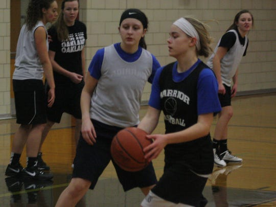 Sophomore Katie Hoehne (with ball) has taken over most of the point-guard duties.