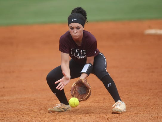 Madison County pitcher Reese Rutherford and her softball