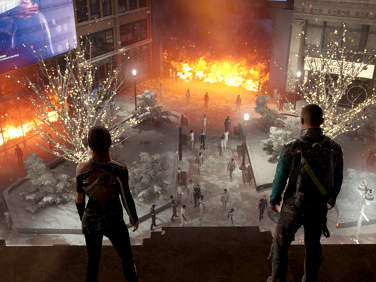 A scene from the trailer for Detroit: Become Human featuring the Capitol Park neighborhood downtown ablaze.