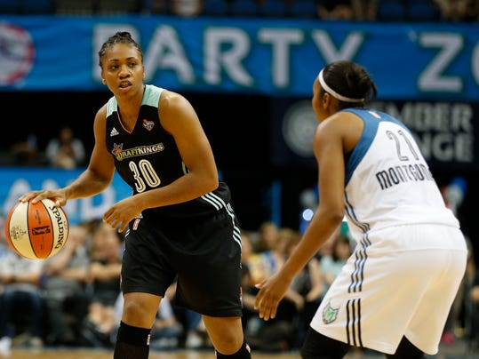 FILE - In this Sept. 6, 2015, file photo, New York Liberty guard Tanisha Wright looks to pass the ball against Minnesota Lynx guard Renee Montgomery (21) during the second half of a WNBA basketball game Minneapolis. The Minnesota Lynx have signed free-agent guard Tanisha Wright, the defending WNBA champions announced Tuesday, March 13, 2018. Terms were not disclosed. (AP Photo/Stacy Bengs, File)