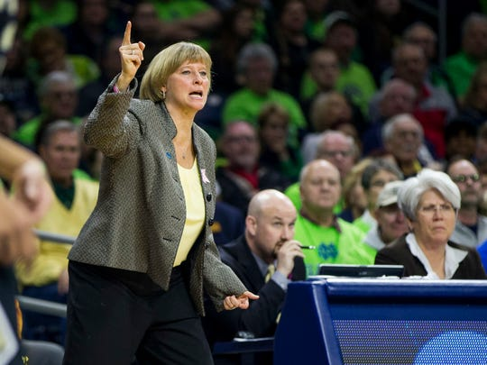 Purdue head coach Sharon Versyp directs players during a second-round game against Notre Dame in the NCAA women's college basketball tournament, Sunday, March 19, 2017, in South Bend, Ind. (AP Photo/Robert Franklin)