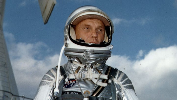 Astronaut John Glenn wears a Mercury pressure suit