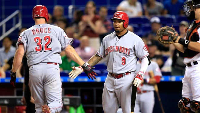 Jay Bruce is congratulated by Marlon Byrd after his homer in the second second inning.