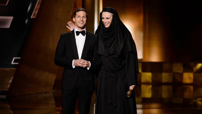 Host Andy Samberg and Jane Lynch during the show.