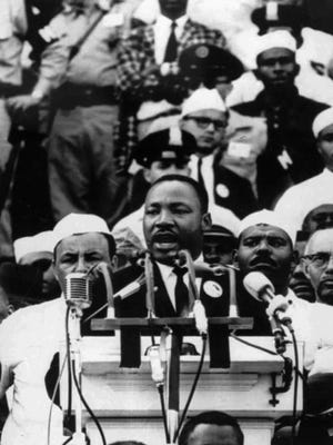 """Martin Luther King Jr. gives his """"I Have a Dream"""" speech at the Lincoln Memorial, Washington. D.C., Aug. 28, 1963."""