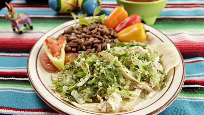 """The """"Tacos for a Healthy You"""" plate at El Palacio Restaurant and Cantina."""
