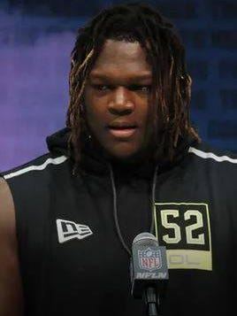Feb 26; Indianapolis, Indiana, USA; Georgia Bulldogs offensive lineman Isaiah Wilson speaks to the media during the 2020 NFL Combine at the Indiana Convention Center. Mandatory Credit: Brian Spurlock-USA TODAY Sports Brian Spurlock-USA TODAY Sports