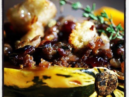 Sweet Dumpling Squash with sausage stuffing.