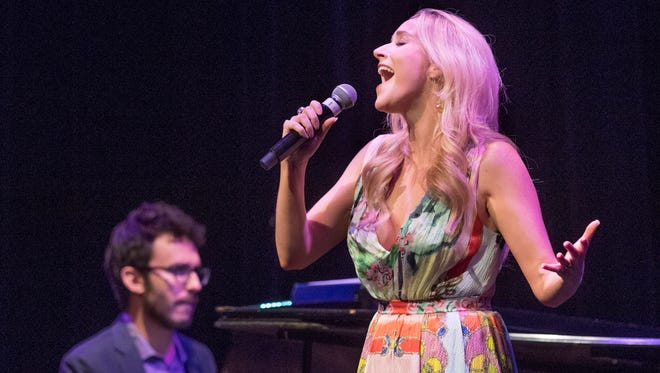 "Golden West graduate and Broadway star Betsy Wolfe performs Saturday, Aug. 13, 2016 at the LJ Williams Theater in Visalia. ""An Evening with Betsy Wolfe"" was presented by and benefited the Visalia Education Foundation. She was accompanied by pianist Andrew Resnick who recently served as the conductor for the Lincoln Center Theatre's Tony-award winning production of ""The King and I."""