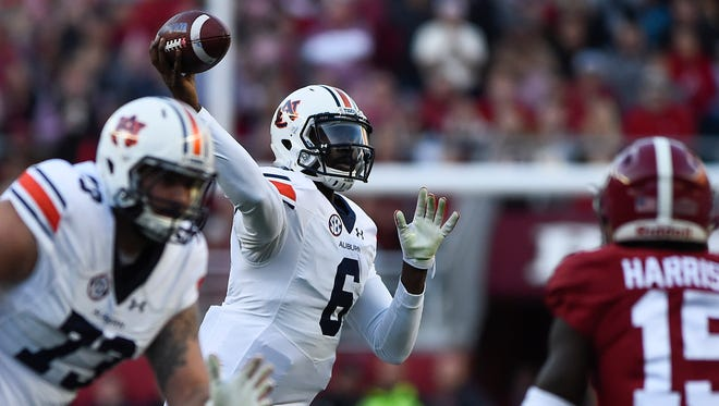 Montgomery native Jeremy Johnson (6) is looking for a shot at the NFL after two disappointing seasons at Auburn.