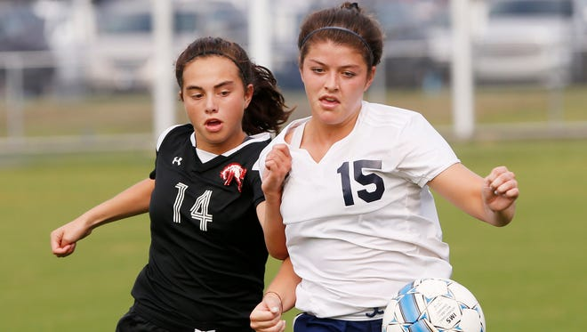 Central Catholic hosts Lafayette Jeff for girls soccer Wednesday, August 16, 2017, in Lafayette. CC and Jeff played to a 2-2 draw.