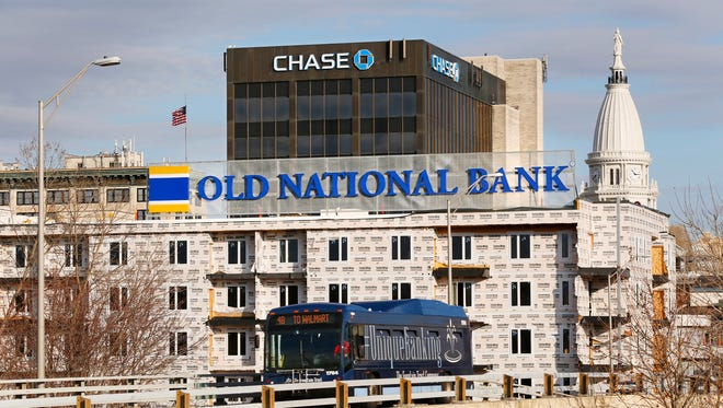Old National Bank as seen from the downtown Lafayette bridges.