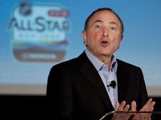 NHL Commissioner Gary Bettman addresses an All-Star weekend news conference in San Jose, California.