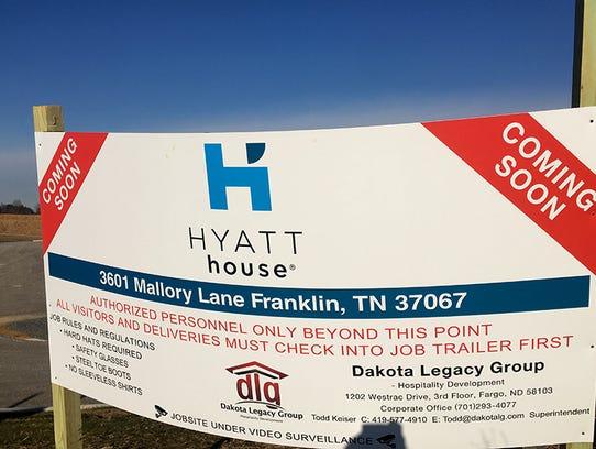 A Hyatt house will start construction in Franklin,