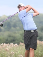 Nick Dilio tees off during round 2 of the Dutchess Amateur golf tournament held at the Links at Unionvale golf course in Lagrangeville on Saturday.