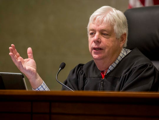 Justice David Wiggins hears oral arguments in a case at the Iowa Supreme Court Wednesday, Feb. 14, 2018.