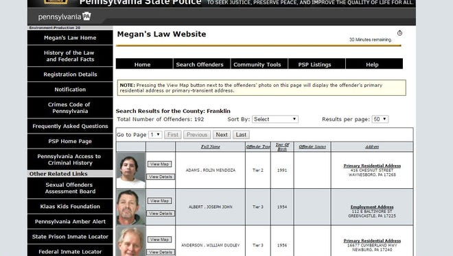 Screenshot of the Franklin County search in the Pennsylvania Megan's Law Website.
