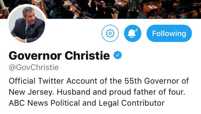 A screenshot of former Gov. Chris Christie's Twitter account in May, 2018.