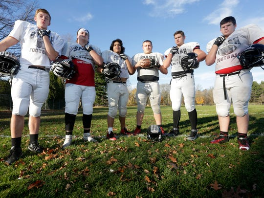 The SPASH offensive line, from left: Hunter Schulfer, tight end, Jacob Erdman, tackle, Manny Ramos, guard, Noah Stroik, center, Seth Tosseth, guard, and Nathan Kozak, tackle.