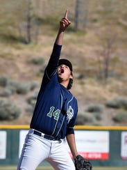 Damonte pitcher Jadon Bercovich points to a pop fly