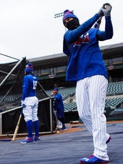The Iowa Cubs Albert Almora Jr. warms up before taking batting practice during an open workout at Principal Park on Wednesday, April 06, 2016 in Des Moines.