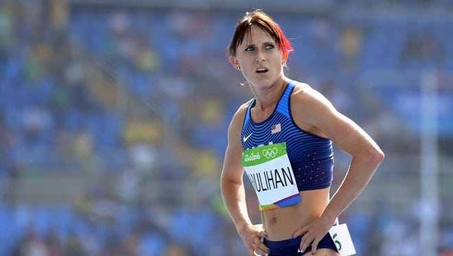 Shelby Houlihan (USA) during the women's 5000m preliminaries in the Rio 2016 Summer Olympic Games at Estadio Olimpico Joao Havelange.
