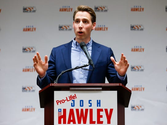 Republican Josh Hawley speaks at a campaign event on Wednesday, May 30, 2018.