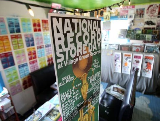 A sign announcing National Record Store day at Village
