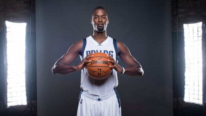Harrison Barnes poses for a photo during Media Day at the American Airlines Center.