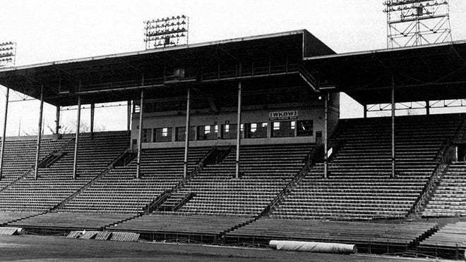 Buffalo's War Memorial Stadium, first home of the Buffalo Bills. Movie producers selected War Memorial Stadium for the 1984 film The Natural because the place had the right look for an old-time ballpark.