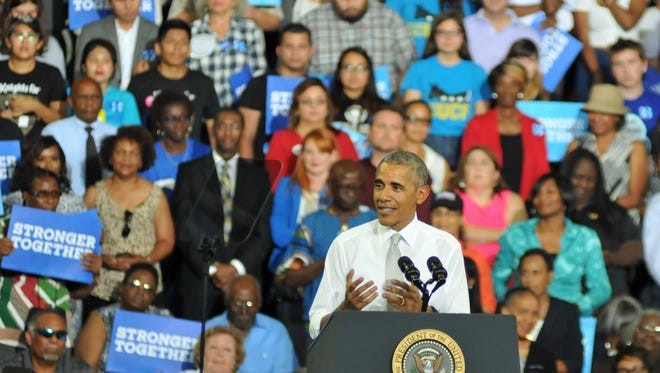 President Barack Obama spoke to thousands at the University of Central Florida CFE Arena Friday evening in support of Hillary Clinton.