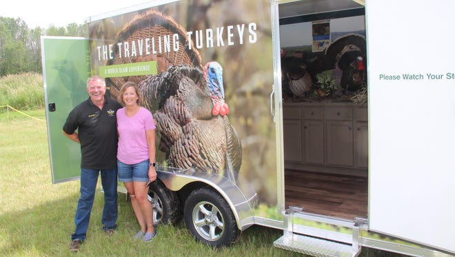 Howard Wohlgefardt of Union Grove and his wife Gwen stand next to The Traveling Turkeys trailer, an educational effort of the Gary Green Foundation. Green was an avid hunter and retired firefighter from Racine who died of lung cancer in 2016 at age 61. Green's family and Wohlgefardt decided to create the foundation to help spread a conservation message espoused by Green during his life. The Traveling Turkeys made its debut July 22 at Get Outdoors Day in Grafton.