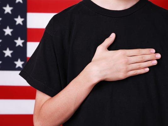 Hand on Heart by American Flag