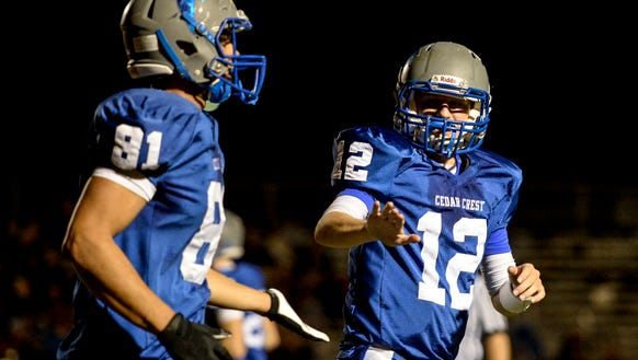 Cedar Crest senior tight end Raymie Ferreira (81) and