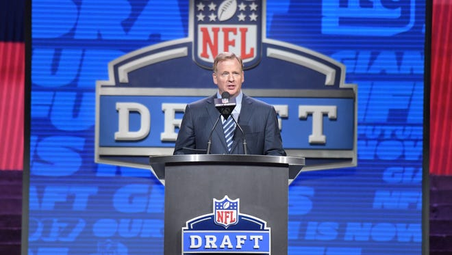 NFL Commissioner Roger Goodell during the first round of the 2017 NFL Draft at the Philadelphia Museum of Art.