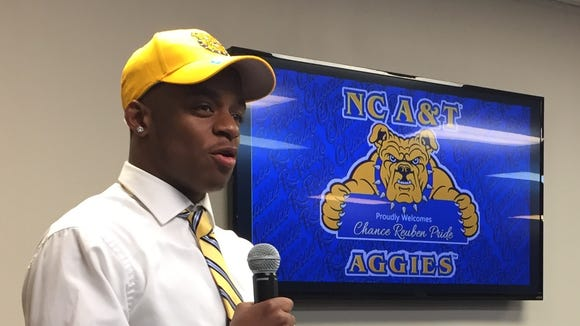 Eastside senior wide receiver Chance Pride talks to a gathering at Kingdom Assembly Outreach Center Wednesday after announcing he would be signing with North Carolina A&T.