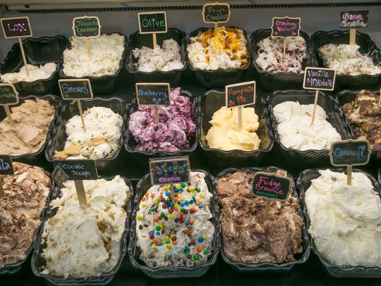 A large variety of flavored cream cheeses are served