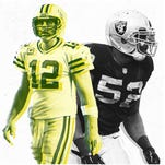 Packers QB Aaron Rodgers and Raiders DE Khalil Mack (52).