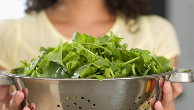 The salad always starts with the greens.
