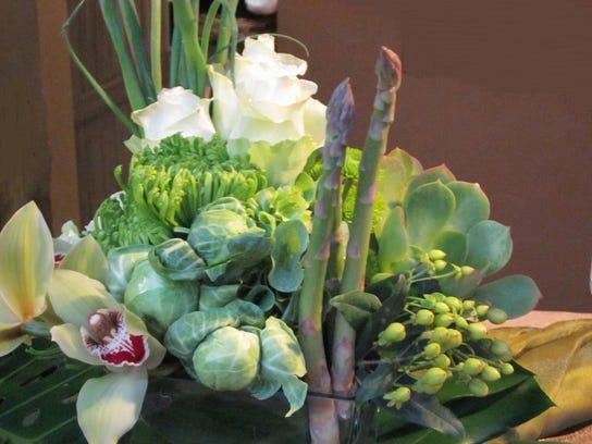 green veggie flower arrangement