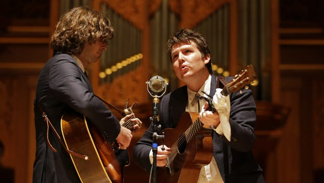 The Milk Carton Kids perform at the Lawrence Memorial Chapel in August.