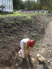 A temporary fire hydrant is located near the Ateres Bais Yaakov Academy of Rockland at 200 Summit Park Road in New Hempstead, Oct. 10, 2017.