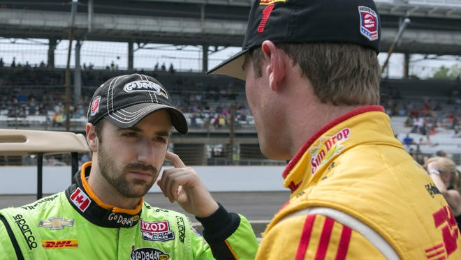 James Hinchcliffe (left) and Andretti Autosport teammate Ryan Hunter-Reay have reconciled after last weekend's crash in Long Beach.