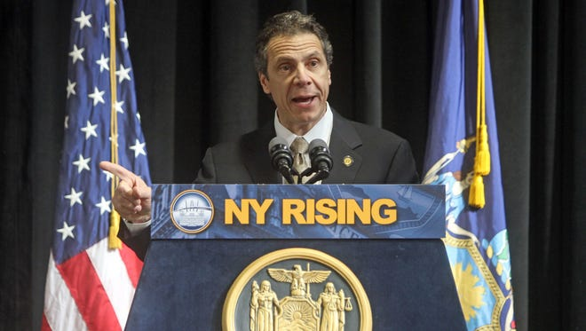 Gov. Andrew Cuomo gives highlights of his State of State and his budget address for 2013 during a speech at the Pascack Community Center in Nanuet Feb. 12, 2013.