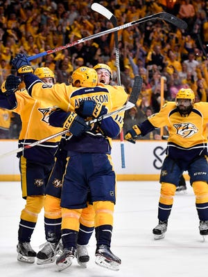 The Predators celebrate a goal by center Colton Sissons (10) in the third period of Game 4 in the first-round NHL playoff series Thursday, April 20, 2017.