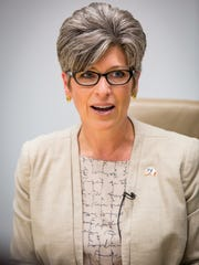Sen. Joni Ernst met for a live interview Thursday, July 5, 2018, with the Des Moines Register editorial board for the first time since being elected in 2014.