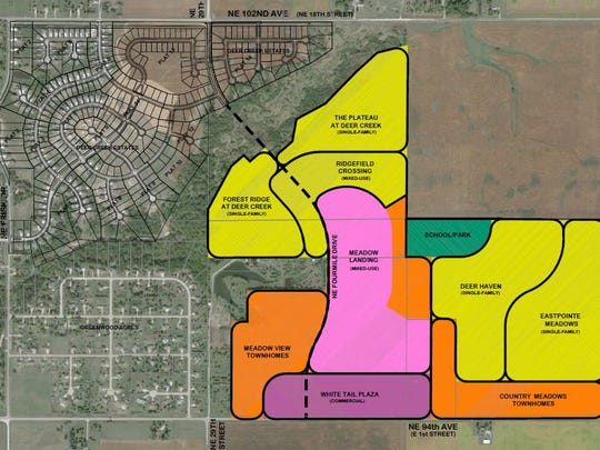 A map of the Deer Creek Planned Planned Unit Development. The colored portion features Deer Creek South, which is the next set area for residential construction in the Deer Creek-area.